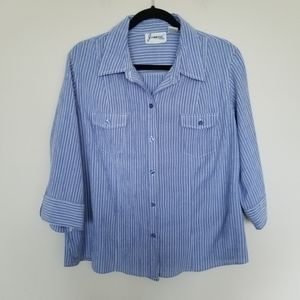 Blue and white striped textured button down XL